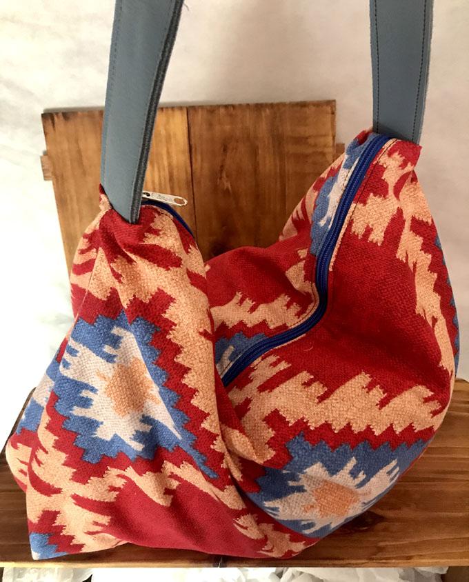 Bolsa de playa Amelie Kilim rojo2
