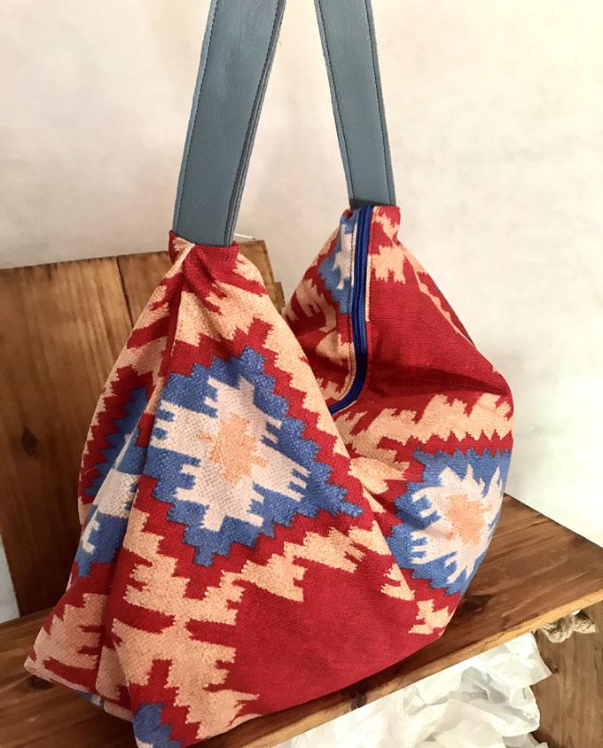 Bolsa de playa Amelie Kilim rojo3