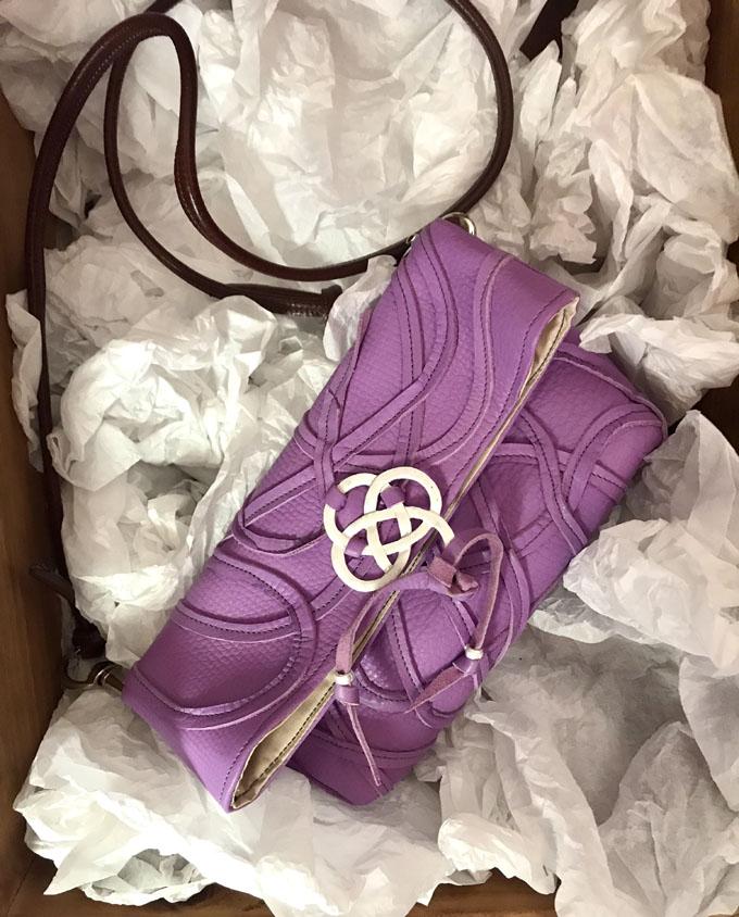 Bolso Vejer Snake en piel violeta