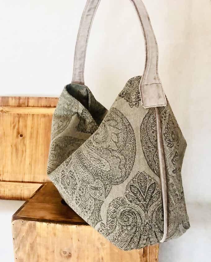 Bolso shopper en tela gris