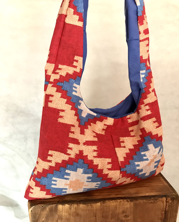 bolsa de playa niña kilim rojo reversible