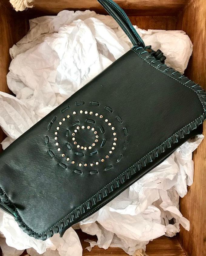 bolso de piel verde Verónica