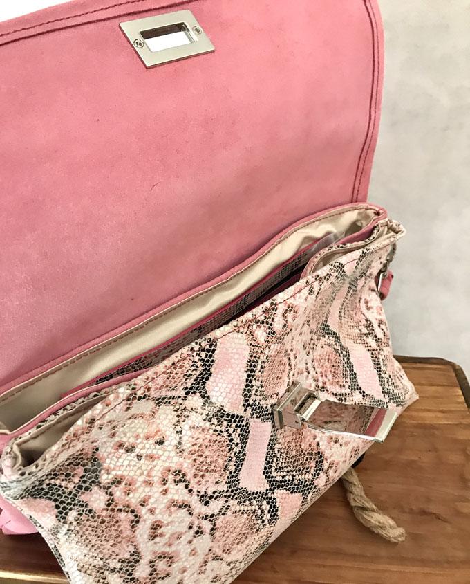 bolso piel print serpiente rosa y ante7